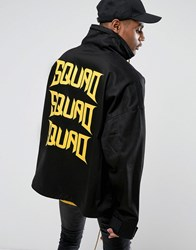 Vision Air Visionair Overhead Jacket In Black With Funnel Neck And Back Print Black