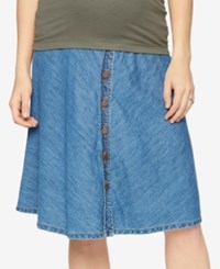 A Pea In The Pod Maternity Denim Button Front Skirt Med Wash
