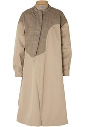 Preen By Thornton Bregazzi Hannah Layered Cotton Twill And Prince Of Wales Checked Wool Canvas Coat Beige
