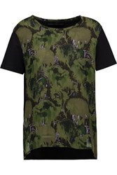 Karl Lagerfeld Kameo Printed Georgette And Cotton Jersey T Shirt Army Green