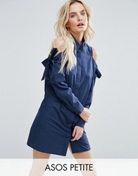 Asos Petite Shirt Dress With Cold Shoulder And Tie Detail Navy