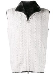 N.Peal Cable Knit Fur Lined Gilet Grey