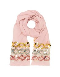 Tory Burch Pink Blossom Embellished Oblong Wool Scarf W Fringes