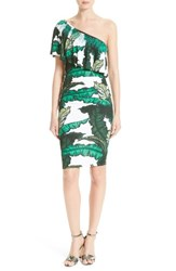 Tracy Reese Women's Print Jersey One Shoulder Flounce Dress