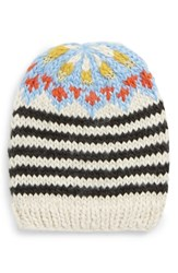 Free People Tullamore Stripe Knit Beanie Black Black And White Combo
