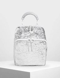 Charles And Keith Rope Handle Wrinkled Effect Metallic Backpack Silver