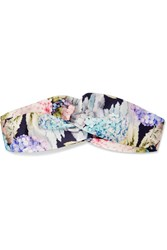 Gucci Twisted Floral Print Duchesse Silk Satin Headband Pink