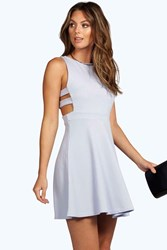 Boohoo Textured Cut Out Skater Dress Baby Blue