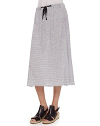 Eileen Fisher Striped Linen Jersey Flare Knee Skirt Women's White Black