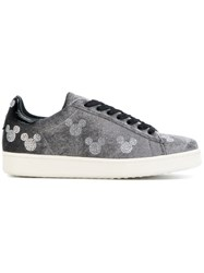 Moa Master Of Arts Mickey Stamp Sneakers Cotton Leather Velvet Rubber Grey