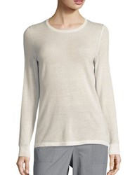 Lord And Taylor Crewneck Merino Wool Sweater Ivory