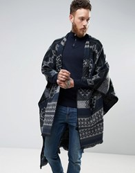 Asos Geo Tribal Cape In Navy Navy
