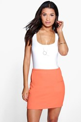 Boohoo Pocket Side Woven Mini Skirt Neon Coral Neon Coral