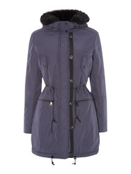 Andrew Marc New York Parka Style Coat With Faux Fur Lining Navy