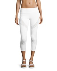 Alo Yoga Charm Lace Inset Capri Sport Leggings White Pattern