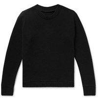 The Elder Statesman Intarsia Cashmere Sweater Black