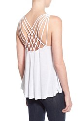 Junior Women's Sun And Shadow Cross Back Knit Tank White