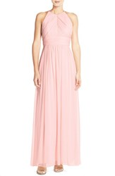 Women's Dessy Collection Ruched Chiffon Open Back Halter Gown Blush