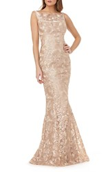 Kay Unger Sleeveless Metallic Embroidery Mermaid Gown Champagne