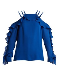 Elie Saab Ruffled Trimmed Silk Crepe De Chine Top Blue