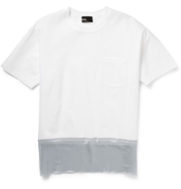 Kolor Colour Block Cotton Organza And Satin T Shirt White