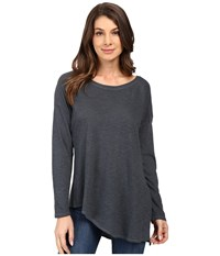 Lanston Asymmetrical Boyfriend Long Sleeve Top Pacific Women's Clothing Blue