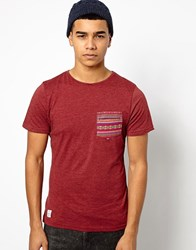 Native Youth T Shirt With Aztec Pocket Red