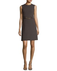 Michael Kors Boucle Crepe Chain Waist Shift Dress Brown