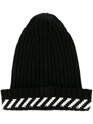 Off White Striped Detail Beanie Black