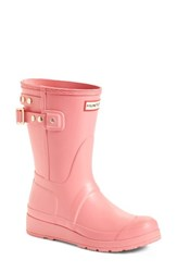 Hunter Women's Original Short Adjustable Back Rain Boot Panther Pink