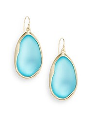Alexis Bittar Lucite Liquid Metal Drop Earrings Turquoise