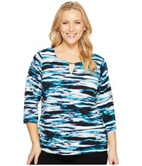 Calvin Klein Plus Size 3 4 Sleeve Print Top W Hardware Cypriess Black Women's Long Sleeve Pullover Blue