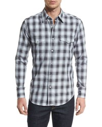 Tom Ford Western Style Washed Check Sport Shirt Black
