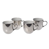 Pols Potten Mugs Set Of 4 Silver