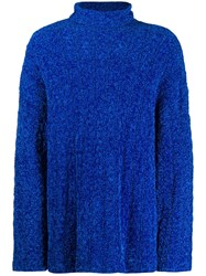 Balenciaga Oversized High Neck Jumper Blue
