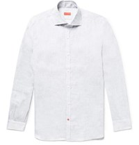 Isaia Slim Fit Satin Trimmed Slub Linen Shirt Gray