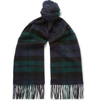 Johnstons Of Elgin Fringed Tartan Cashmere Scarf Green