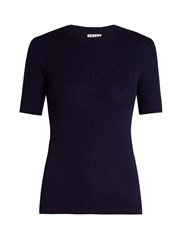 Frame Classic Silk And Cashmere Blend Top Navy