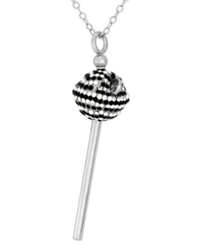 Sis By Simone I Smith Platinum Over Sterling Silver Necklace Black And White Crystal Mini Lollipop Pendant