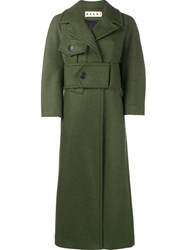 Marni Long Belted Coat Green