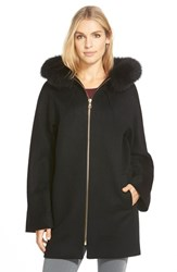 Women's Sofia Cashmere Wool Blend Hooded Coat With Genuine Fox Fur