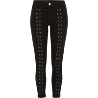River Island Black Lace Up Front Skinny Molly Jeans