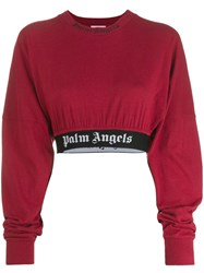 Palm Angels Cropped Sweatshirt Red