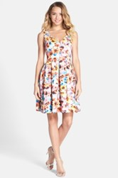 Betsey Johnson Floral Print Scuba Fit And Flare Dress Multi