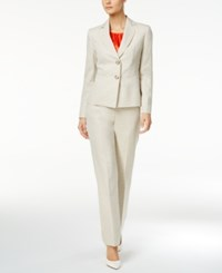 Le Suit 3 Pc. Crosshatched Pantsuit Wheat Tangerine