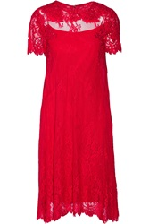 Mikael Aghal Embellished Lace Dress Red