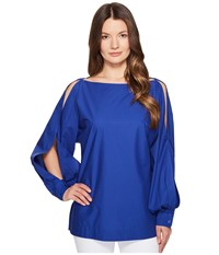 Escada Nytal Puffy Long Sleeve Top Azure Women's Clothing Blue