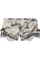 Agent Provocateur Pearle Leavers Lace Trimmed Printed Stretch Silk Satin Briefs White