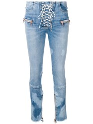 Unravel Project Lace Up Skinny Jeans Blue