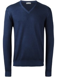 Barba V Neck Pullover Blue